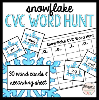 Winter Snowflake CVC Word Hunt Sort