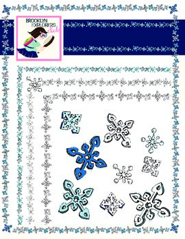 Let it Snow!  Winter Snowflake Clip Art Pack - Borders and Clip Art