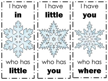 Winter Snowflake Dolch Word Game (preprimer)