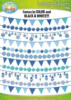 Winter Snowflake Pendant Banners Clipart {Zip-A-Dee-Doo-Dah Designs}