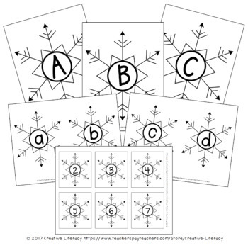 Winter Snowflake Letters and Numbers