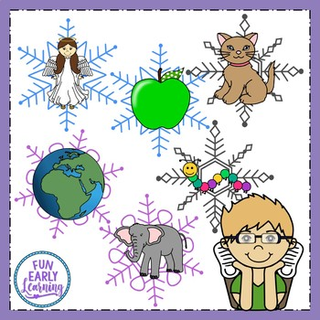 Winter Snowflake Matching - Beginning Sounds / Initial Sounds