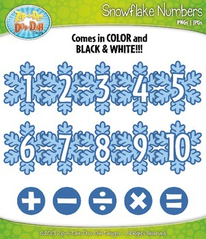Winter Snowflake Math Numbers Clip Art Set — Over 30 Graphics!