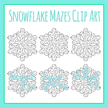 Winter Snowflake Mazes Clip Art Set for Commercial Use