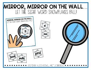 Winter Snowflake Mirror Sight Words