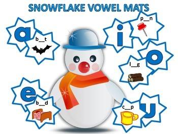 Winter Snowflake Short Vowel Mat Activity