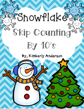 Winter Snowflake: Skip Counting by 10's - Card Sort Center and Worksheet