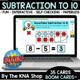 Winter Snowflake Subtraction to 10 Boom Cards Distance Learning