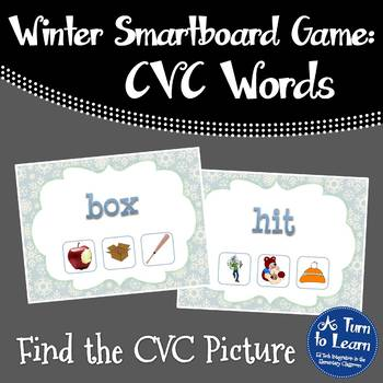 Winter Themed Find the CVC Picture Game for Smartboard/Promethean Board!