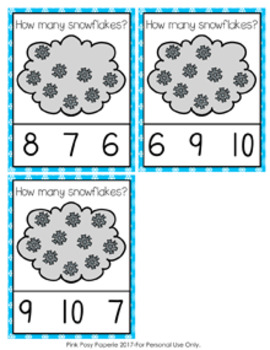 Winter Snowflakes Count and Clip Cards Numbers 0-10