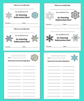 Winter Math:  Snowflake Matching Game - 190 Subtraction Facts!