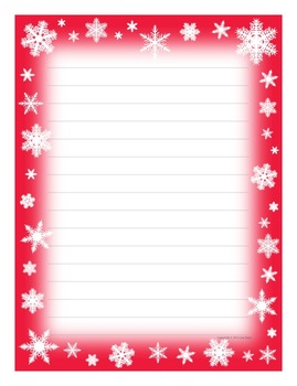 Winter Snowflakes Writing Paper