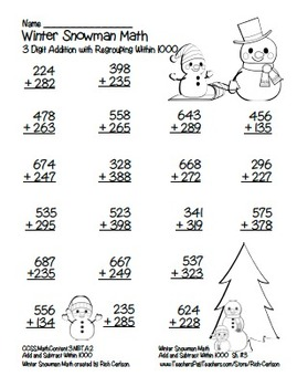 """""""Winter Snowman"""" 3 Digit Addition Regrouping Common Core! (color & black line)"""