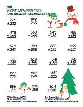 """""""Winter Snowman"""" 3 Digit Addition Regrouping  Common Core! (color version)"""