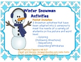 Winter Snowman Activities (Following Directions, Sequencing and Describing)