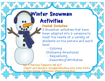 winter snowman activities following directions sequencing and describing. Black Bedroom Furniture Sets. Home Design Ideas