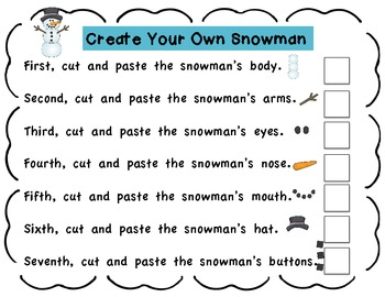 Winter Snowman Activities Following Directions Sequencing and Describing