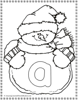 Winter Snowman Alphabet Cards and Coloring Sheets