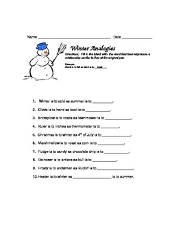 Winter Snowman Analogies for 2013!