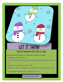 New Year  Winter Snowman  Math & More