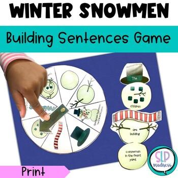 Winter Snowman Build-a-Sentence Game---Christmas