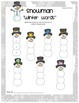 Winter Snowman CVC Word Building Activity and Pocket Chart Game
