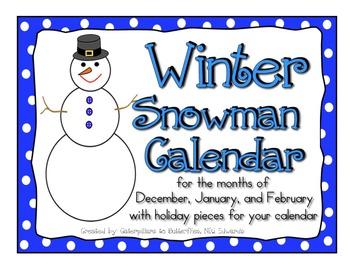 Winter Snowman Calendar- Pieces