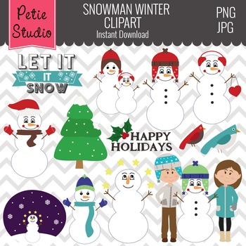Winter Snowman Clipart Set, Snowman Family, Snowman with Hats - Winter120