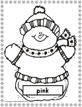Winter Snowman Color Mats and Coloring Sheets