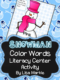 Winter Snowman Color Sight Word Literacy Center Activity for Preschool