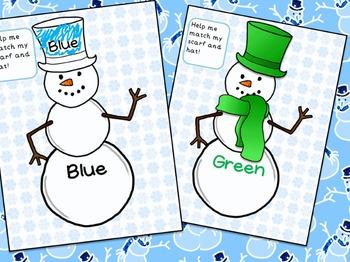 Winter Snowman Color Sight Word Literacy Center Activity for Preschool