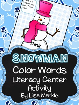 Winter Snowman Color Sight Word Literacy Center Activity f