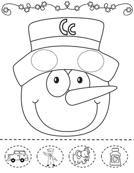 Winter Snowman Cut and Paste Activities for Kindergarten:  Initial Sound