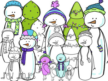 Winter Snowman Digital Clip Art Set- Color and Black Line COMBO