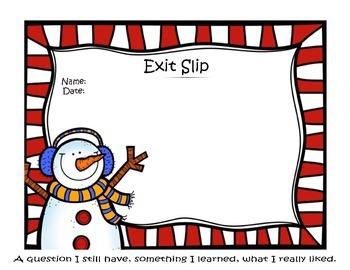 Winter Snowman Exit Slip