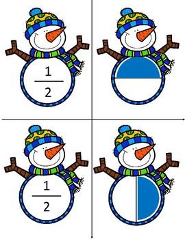 Winter Snowman Fraction Cards