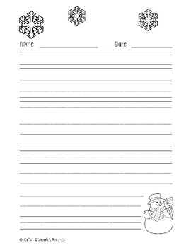 Winter Snowman Handwriting Paper