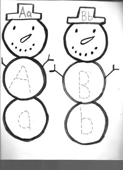 Winter Snowman Letter Aa & Bb writing Practice