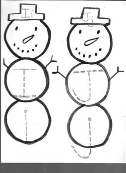 Winter Snowman Letter Ii & Jj writing practice