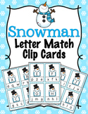 Winter Snowman Letter Match Clip Cards
