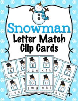 Winter Snowman Letter Match Clip Cards