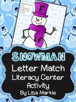 Winter Snowman Letter Match Literacy Center Activity for Preschool