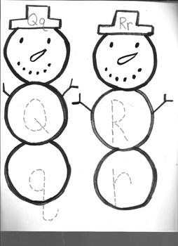 Winter Snowman Letter Qq & Rr writing practice