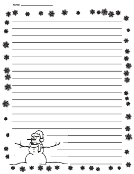 Winter Snowman Lined Paper for a Writing Project