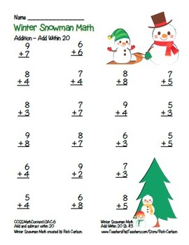 """""""Winter Snowman Math"""" Add Within 20 - Common Core -  Fun! (color version)"""