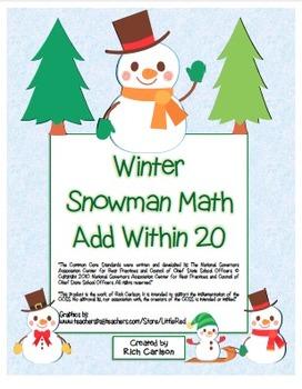 """Winter Snowman Math"" Add Within 20 - Common Core -  Fun!"