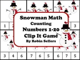 Winter Snowman Math {Counting Numbers 1-20 Clip It Game and Math Center}
