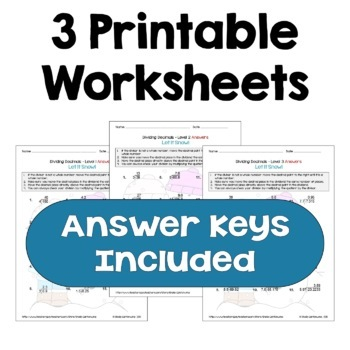 Winter Math: Dividing Decimals Worksheets (Differentiated)