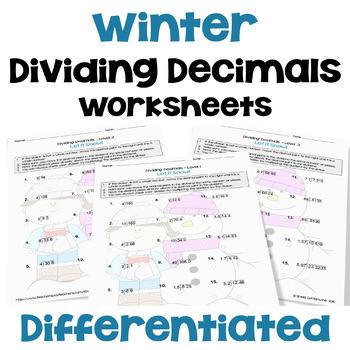 Winter Math: Dividing Decimals Worksheets (3 Levels)