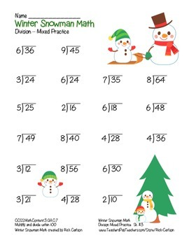 """Winter Snowman Math"" Division- Common Core -  Division Fun! (color version)"